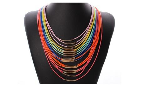 Bohemia Multilayer Wax Rope Choker Women's Necklace 9ced6df7-c659-41da-b14f-445e02641b5f
