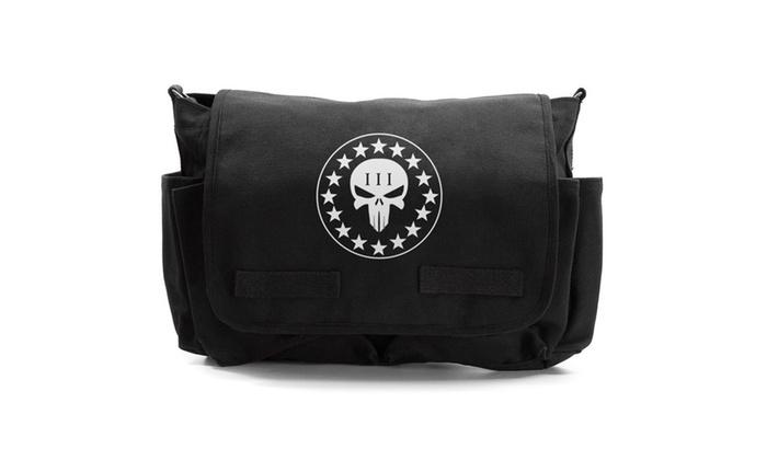Vintage Three Percenter No Surrender Punisher Skull Messenger Bag
