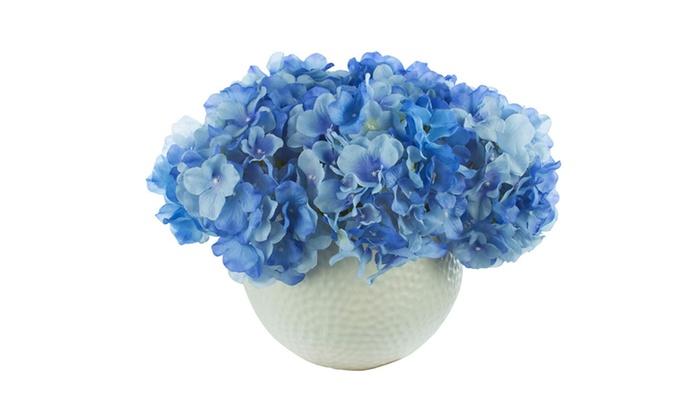 Blue hydrangea silk floral arrangement groupon