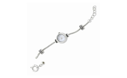 IceCarats Designer Jewelry Sterling Silver Reflections Watch Starter Charm Bracelet in 7 or 8 Inches