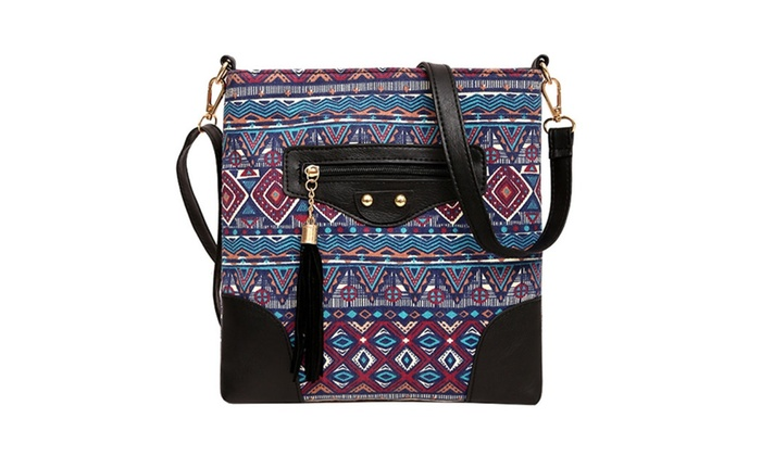 Ethnic handmade waves embroidery summer shoulder cross body bags