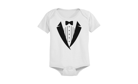 Cute Tuxedo Print Pre-shrunk White Cotton Snap-on Baby Bodysuit