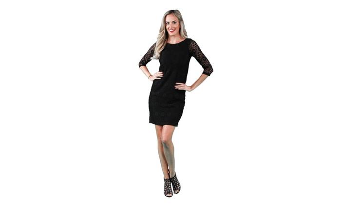 24/7 Comfort Apparel Women's Black Lace Dress
