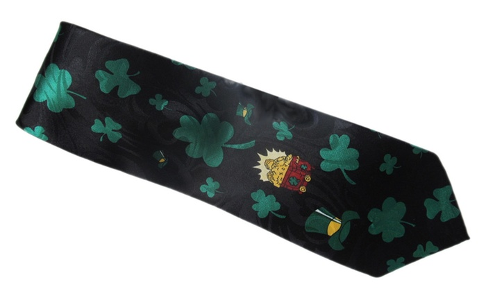 St Patricks Day Pot O Gold Shamrock Black Neck Tie