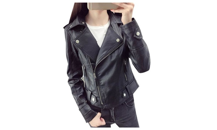 Women's Zip Closure Casual Regular Fit Faux Leather Coats