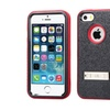 Insten For Iphone 5/5s/se Blk Red Verge Hybrid Hard Matte Case W/stand