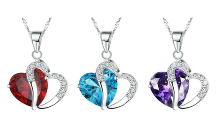 KATGI Diamond Accent Austrian Crystals Heart Shape Pendant Necklace