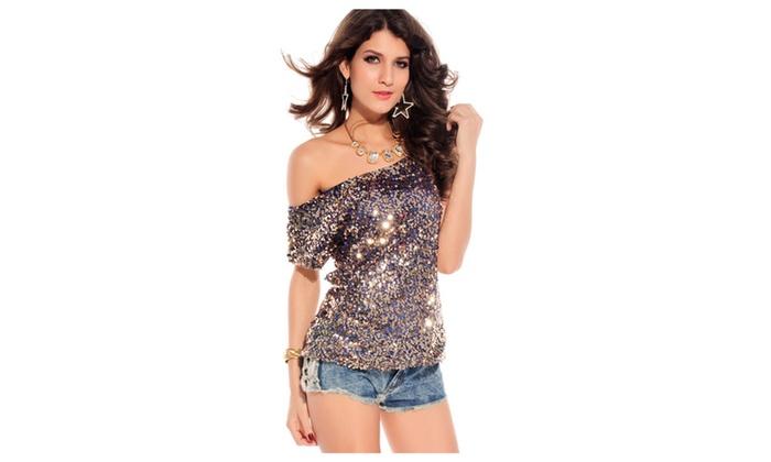 Women's Seductive Off-shoulder Glistening Sequin Top Blue – one size