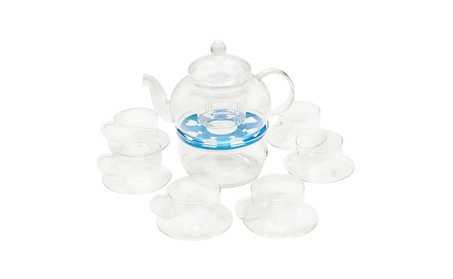 Glass Filtering Tea Maker Teapot With a Warmer and 6 Tea Cups 27 oz 3b60424f-4462-486c-bc61-e945620c31ef