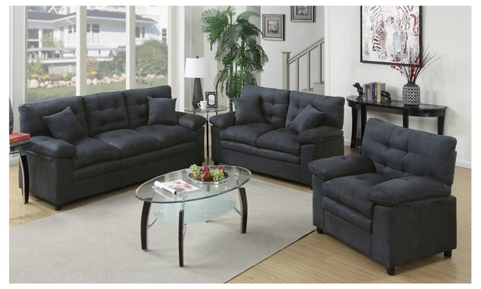 Foligno 3 piece living room set upholstered in microfiber for Living room set deals