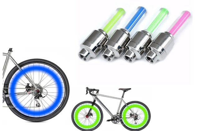 Bike-X LED Motion Activated Bike Bicycle Wheel Valve Stem Cap Tire Light 4-Pack