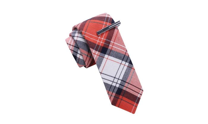 Skinny Tie Madness Red Plaid Skinny tie with Tie Clip