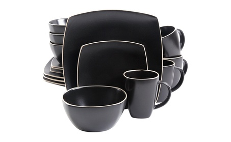 Gibson Home Soho Lounge Matte 16 Piece Dinnerware Set, Black photo