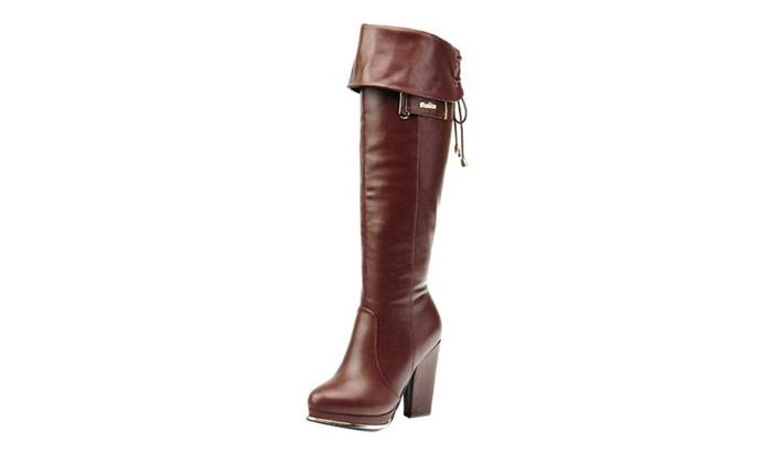 Women's Zip PU Fashion High Heel Boots Shoes
