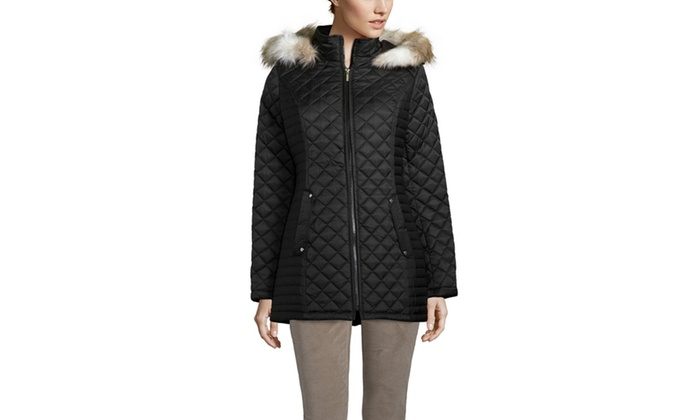Laundry By Design Mixed Quilted Jacket With Faux Fur Trim Groupon