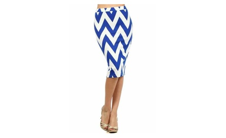 Blue and White Chevron Pencil Skirt