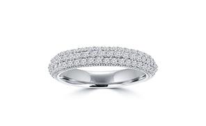 1.25 Ct Ladies Three Row Round Cut Diamond Wedding Band Ring In 14 Kt White Gold