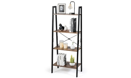 COSTWAY 4-Tier Ladder Shelf Ladder Bookcase Bookshelf Display Rack Plant Stand