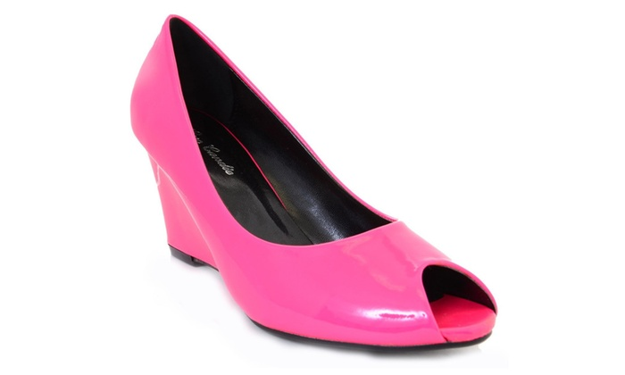 Bright Wedge Peep toe Patent Glossy Neon Pumps