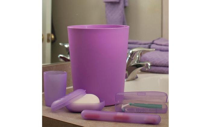 Bathroom waste basket and toiletry set groupon for Bathroom wastebasket sets