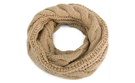 Womens Thick Ribbed Knit Winter Infinity Circle Loop Scarf 3775beb6-92cb-46d6-a9ad-9ff71756529c