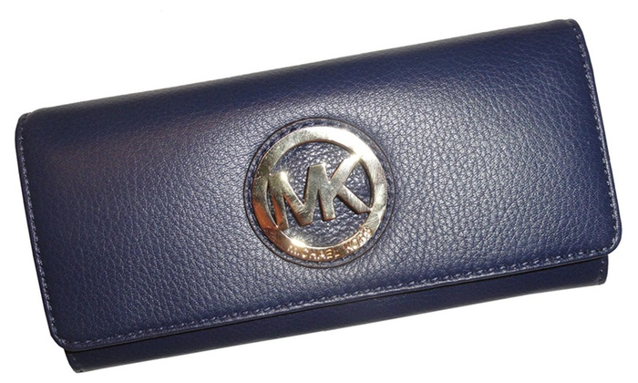 womens Mk Fulton Flap Continental Leather Wallet Navy