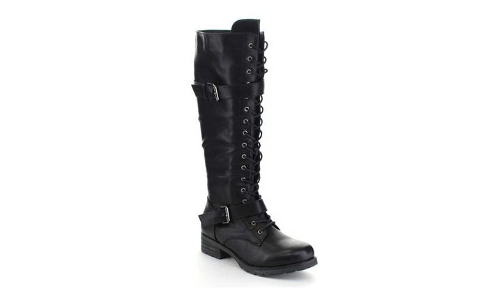 Buckled Lug Lace Up Lug Sole Knee High Vegan Leather Chunky Heel Boots