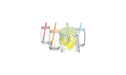 HOME ESSENTIALS AND BEYOND Set of 4 Polka Dot Jars with Lids