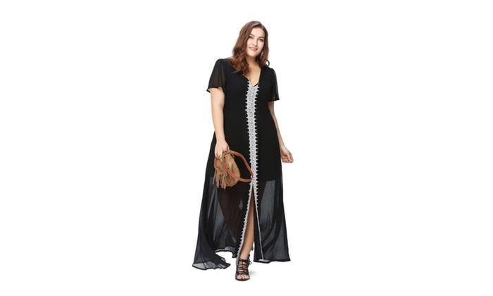 865b7643d5 Plus Size Women Long Night Dress Nightgown Sheer Maxi Dress ...