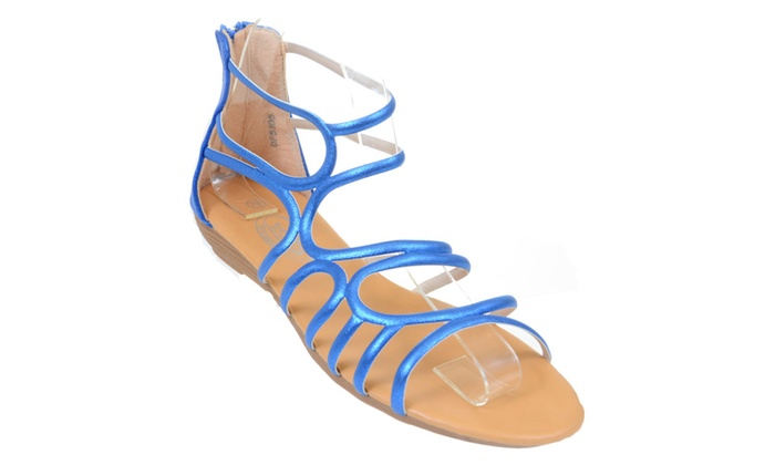 Gladiator Metallic Back Zip Strappy Gladiator Womens Wedge Sandals