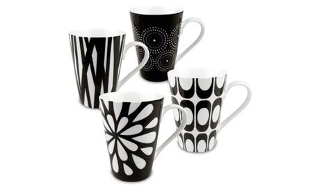 Set of 4 Black & White Assorted Mugs (Groove, Burst, Rhythm, Bloom) 27aee140-c285-4596-83ee-5f0da8e8a55e