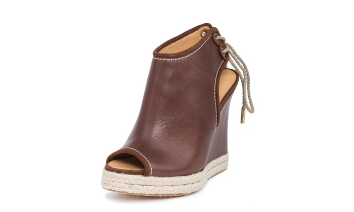 Dsquared2 Women Brown Genuine Leather Peep-Toe Booties Shoes Italy
