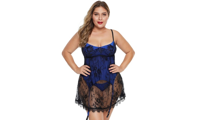 Womens Eyelash Lace Lingerie Bodydoll Pajamas Set Plus Size On Sale