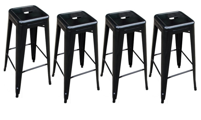 30 Inch Square Metal Counter Barstools Set Of 4 Groupon
