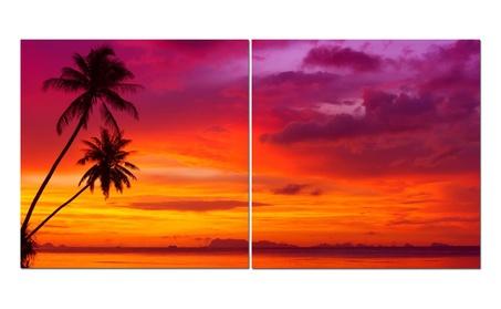 """Split Canvas Art Set 24""""x 24"""" 2 Pieces Sunset Palms 0ea6a26d-0b2f-4169-84fd-c87b86c02076"""