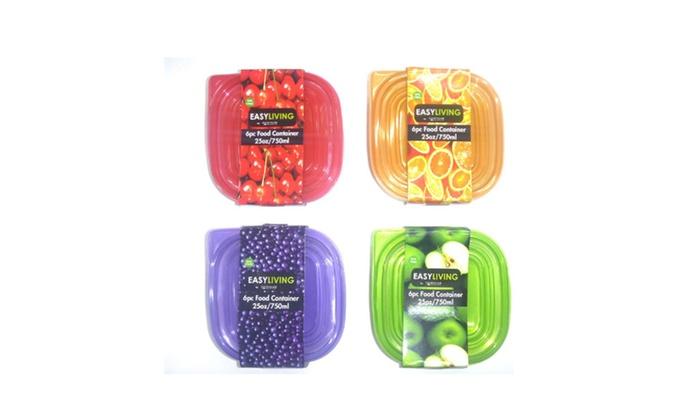 Buy It Now : 6 Pc Food Storage Square/Plastic 25 oz Capacity