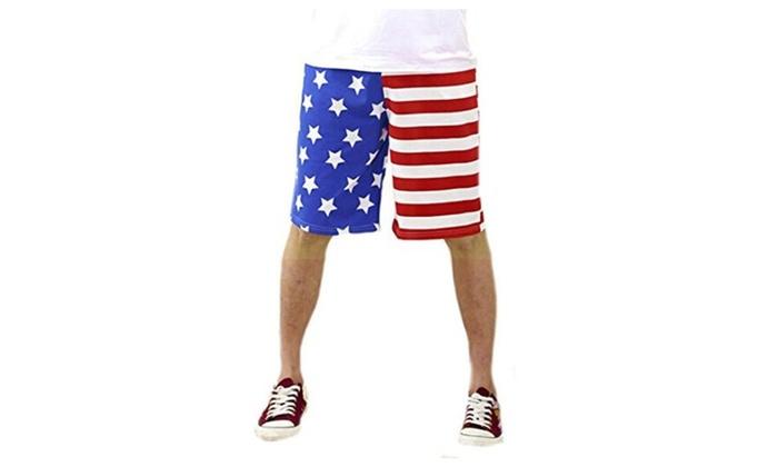 NQ Men's Cool Casual Flag USA Pattern Beach Pants Cargo Shorts