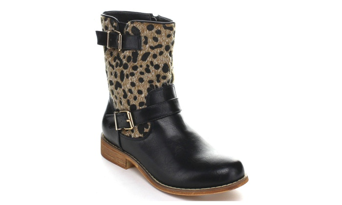 Randy-05 Stitched Apron Front Faux Fur Lining Mid-Calf Boots