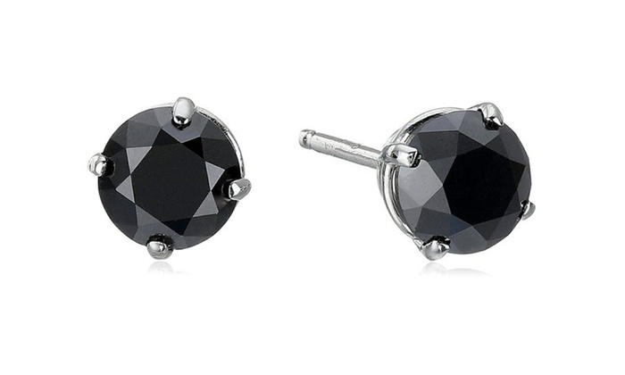 14k Gold Round Black Diamond Stud Earrings 1 Cctw