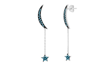Sterling Silver Turquoise CZ Crescent Moon Dangling Star Post Earring 771f8c1f-80d8-4eeb-a8f9-8dd0690e6e4f