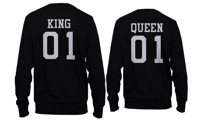 King 01 and Queen 01 Back Print Couple Matching Cute Sweatshirts