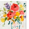 Sheila Golden White Vase with Bright Flowers A Canvas Print