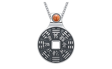 Yin Yang Lucky Coin Amulet BaGua Magic Kanji Forces of Nature Powers Pendant Necklace