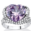 23.11 TCW Heart-Shaped Lavender CZ Cocktail Ring