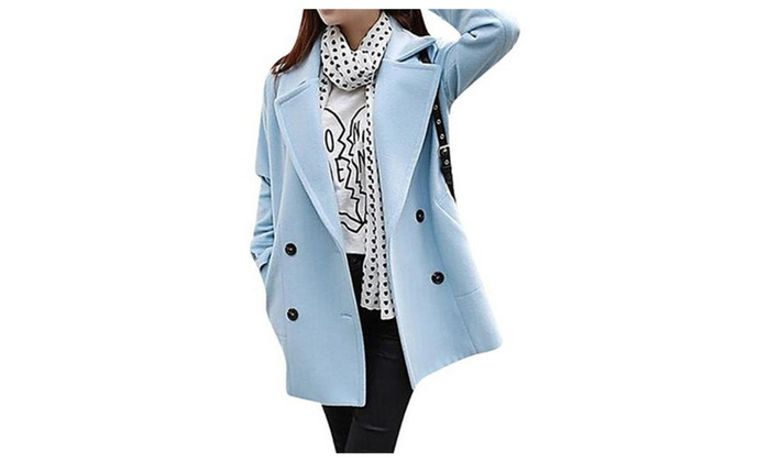 Women's Elegant Loose Double Breasted Wool Blend Jacket Trench Coat