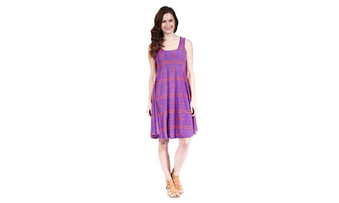24/7 Comfort Apparel Women's Abstract Blue&Orange Printed Tank Dress