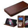 Insten Flip Leather Case stand card For Alcatel One Touch Idol 3 Brown