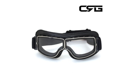 CRG Vintage Bike Aviator Style Motorcycle Cruiser Scooter Goggles T13BCB Deluxe