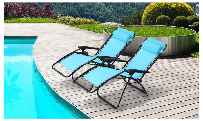 Ollieroo Zero Gravity Lounge Chair Outdoor Beach Patio 2 Pack