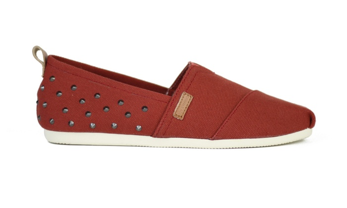 Joy & Mario Men Red Rivet Slip-on Espadrille Flat Shoes